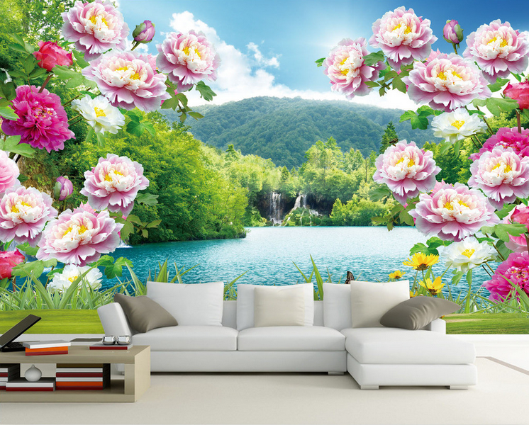3D Waterfall Mountains Peony Paper Wall Print Wall Decal Wall Deco Indoor Murals
