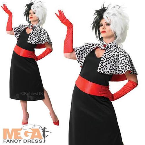 Peluca Cruela de Vil Damas Vestido Elaborado Disfraz de Halloween de Disney Villano Adultos