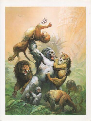 "LIONS COLOR Art Plate Lithograph 1990 Vintage KEN KELLY /""GREAT FURY/"" GORILLA vs"