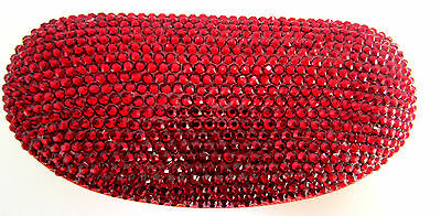 EYEGLASS CASE RED BLING RHINESTONE CRYSTALS HARD LARGE GLASSES, SUNGLASSES