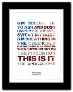 IMAGINE DRAGONS Radioactive song lyrics typography poster ...