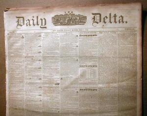 Rare Orignal 1850-1859 New Orleans Delta LOUISIANA newspaper 170 years old !