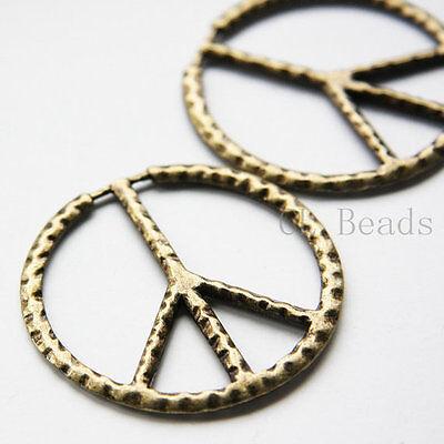 4pcs Antique Brass Tone Base Metal Pendant-Peace Sign 50mm (5481Y-B-345B)