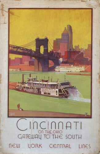 travel poster 1935 Cincinnati home accent wall decals