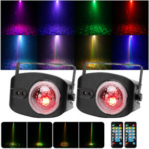 2X RG Laser Pattern & Flame Stage Light Magic Ball Light Remote DJ Bar Party KTV