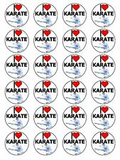 "x24 1.5"" I Love Karate Japanese Martial Art Cupcake Topper On Edible Rice Paper"