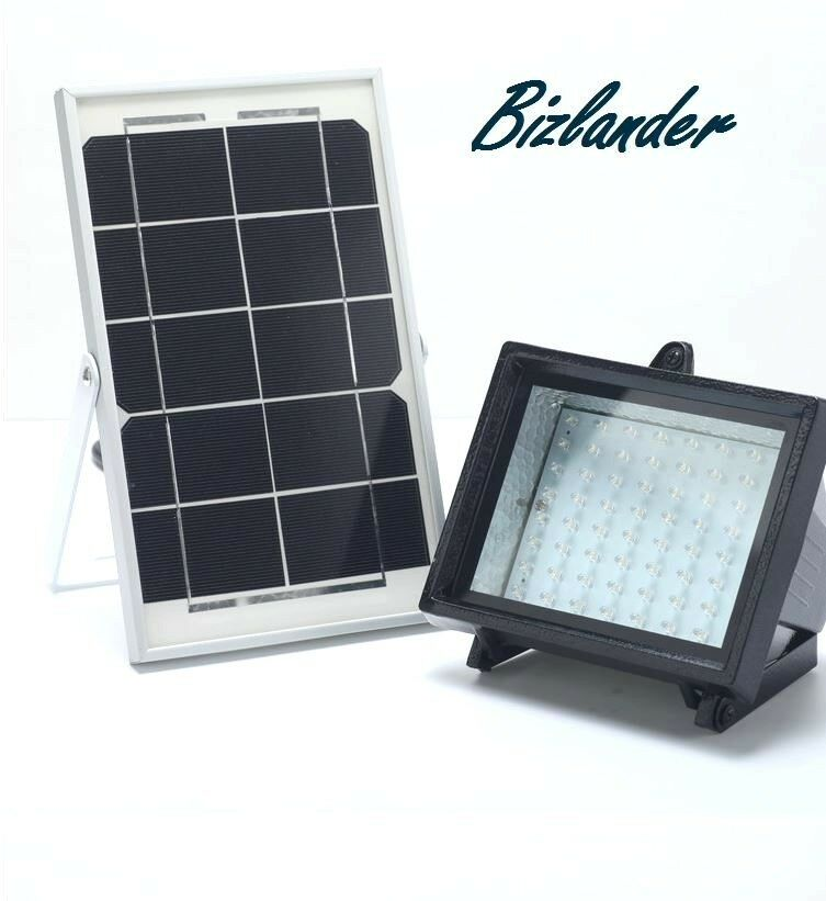 Bizlander Premium 60LED Solar Flood Light Solar Panel For Sheds Barn Farm Signs