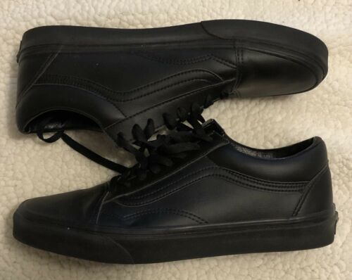 Vans Old Skool Low - Black Leather - Size 10.5