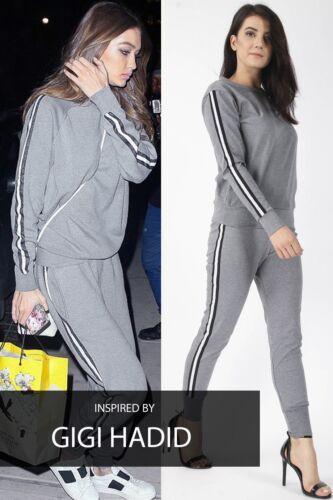 Ladies Celebrity Stripe Sweatshirt Joggers Set Lounge Suit Tracksuit Black White