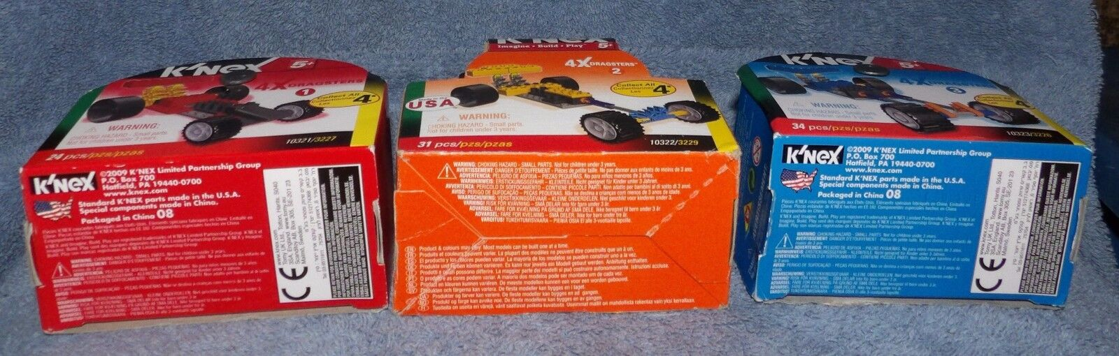 K'NEX 4X DRAGSTERS SET 2,  & 10323    RED, YELLOW  & blueE DRAGSTERS 59b441