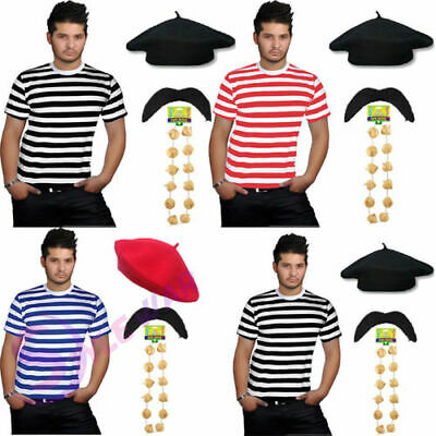 New Childrens Kids French T-Shirt,Beret Hat /& Garlic Garland FancyDress Costume
