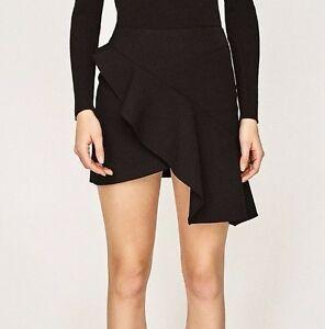 Con Volante Cintura Crossover Mujer Zara Alta Mini Falda Negro 51xETn0qw