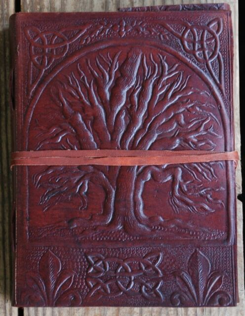 Handmade Tree of Life Tooled Leather Blank Journal Diary Notebook Book (562WS)