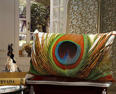 Elegant rectangle velvet pillow cushion cover peacock feather on both sides