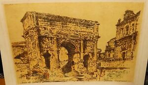 PIERRE-TOURNEAU-ARCO-DE-SEPTIMIO-SEVERO-ROMA-ORIGINAL-1930-ETCHING