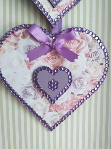 Lilac Pink Ivory Roses Vintage Wooden Hanging Hearts Decoration ANY COLOURS