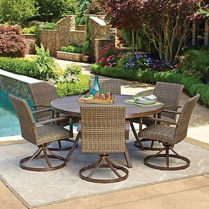 weather wicker outdoor 7pc patio dining set w 60 round table ebay