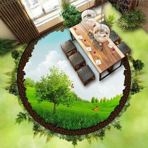 3D Circle Grassland Tree Floor WallPaper Murals Wall Print Decal 5D AJ WALLPAPER