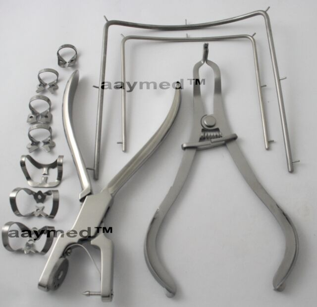 Dental Rubber Dam Clamp Set 11 Pcs. Dentist Orthodontic Instruments Free Ship