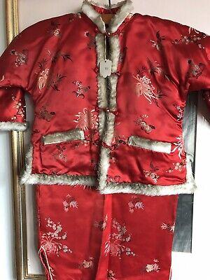 True Vintage Taglia 26 Petto Abito Bambino Giacca Tuta Rossa In Raso Hong Kong Mandarino-mostra Il Titolo Originale