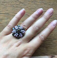 Stunning Vintage Style Rhinestone Dress Ring/Crystal Statement/Cocktail/Purple