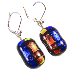 DICHROIC Glass Earrings Blue Orange Striped Patterned Euro Lever Dangle 3/4""