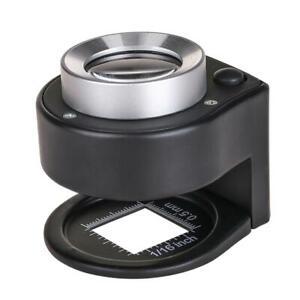 30X Optical Glass Lens 6LED Full Metal Folding Linen Tester Loupe Magnifier