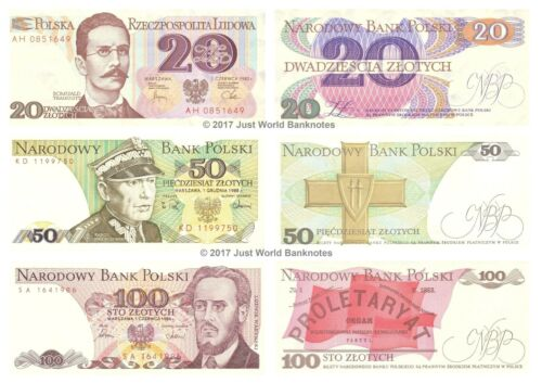 Poland 20 + 50 + 100 Zlotych Set of 3 Banknotes 3pcs UNC