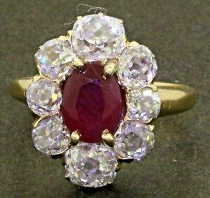 Antique-Victorian-14K-gold-3-10CTW-diamond-7-2-X-5-7mm-ruby-cocktail-ring-size-5