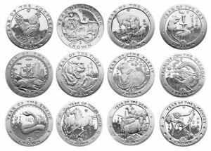 ISLE-OF-MAN-Complete-12-Coin-Set-Chinese-Lunar-Crowns-1993-2004