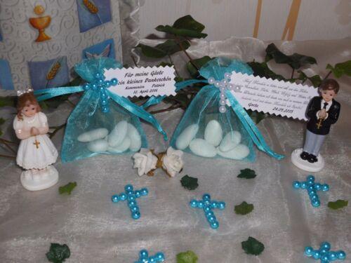 Hochzeit,Taufe,Kommunion Gastgeschenk//Organzasäckchen türkis mit Kreuz