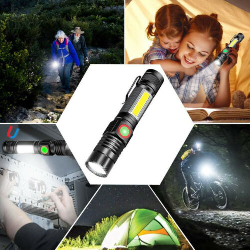 60000LM T6+COB LED Flashlight USB Rechargeable Zoom Torch With Magnet With Clip
