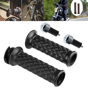 Noir-7-8-034-22mm-moto-guidon-poignee-chrome-Prise-Cafe-Racer-Clubman-Bobber-Custom