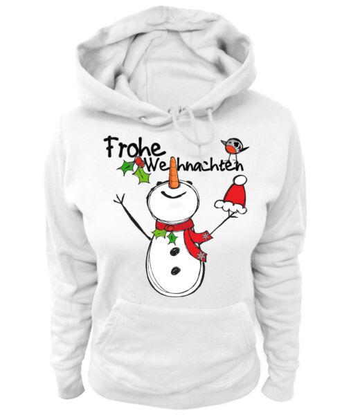 Damen Hoodie – Frohe Weihnachten Schneemann Snowman Merry Christmas XMAS Santa