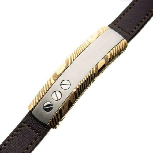 Details about  /Stainless Steel Gold Plated Brown Leather and Head Screw Damascus ID Bracelet