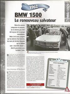 VOITURE BMW 1500 FICHE TECHNIQUE AUTOMOBILE 1962 COLLECTION CAR FRANCE