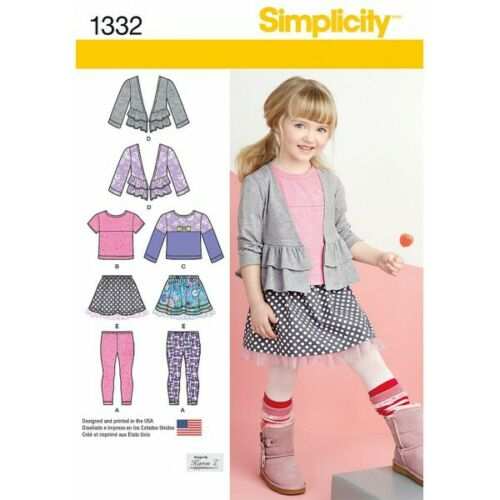 Simplicity Sewing Pattern 1332 Child/'s Skirt Leggings /& Cardigan.