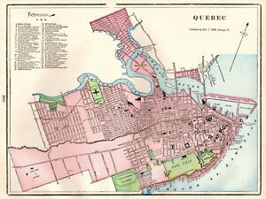 1901 Antique Quebec Canada Map Vintage City Map of Quebec ... on
