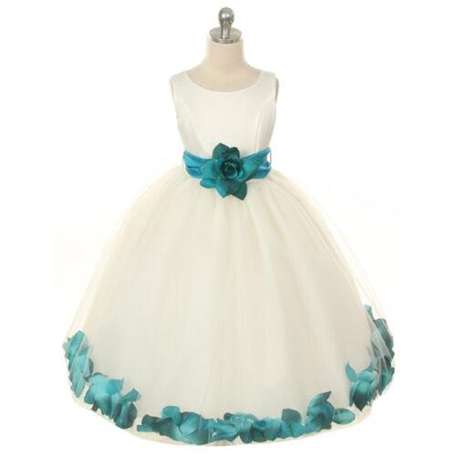 WHITE Flower Girl Dress Petals Wedding Bridesmaid Recital Formal Birthday Party