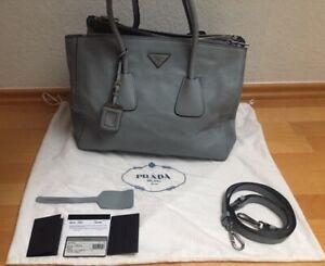 Prada Shopper bleu à Original id Sac Incl cervo gris accessoires poussière En 4Hw656gdq