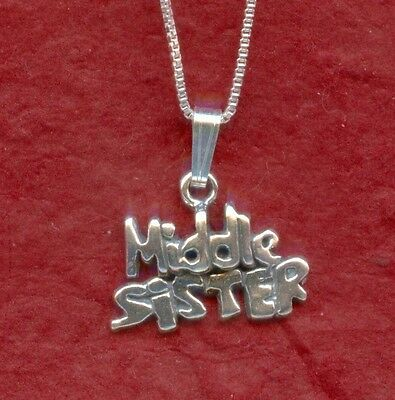 Sterling Silver Middle Sister Necklace New Solid 925 Charm Pendant and Chain sis