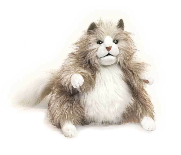 Fluffy Cat Puppet with Movable Mouth, Folkmanis MPN 2566, 3 & Up, Boys & Girls
