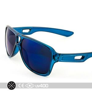ee5527c1094 Clear Blue Frame Mirrored Lens Aviator Style Modern Sunglasses Sport ...