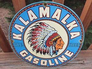 """Vintage Kalamalka Gas Heavy Porcelain Sign 12"""" Gas & Oil Sign"""