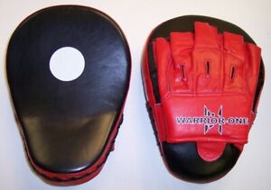 New! Curved Focus Mitts - Leather - Red Black - Boxing Thai Kickboxing MMA UFC