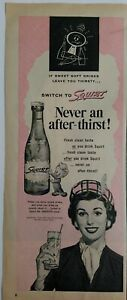 1954-Squirt-Soda-never-an-after-thirst-vintage-bottle-original-ad