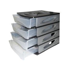 cassettiera plastica per ufficio - 4 cassetti componibile - resina