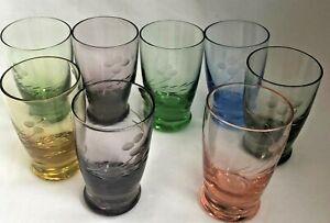 Vintage-Set-of-8-Etched-Colored-Depression-Glass-Cordial-Shot-Glasses