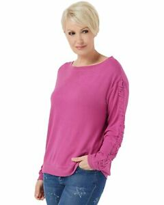 Peace-Love-World-Comfy-Top-with-Ruched-Sleeve-Detail-Amore-Pink-Small-A353713