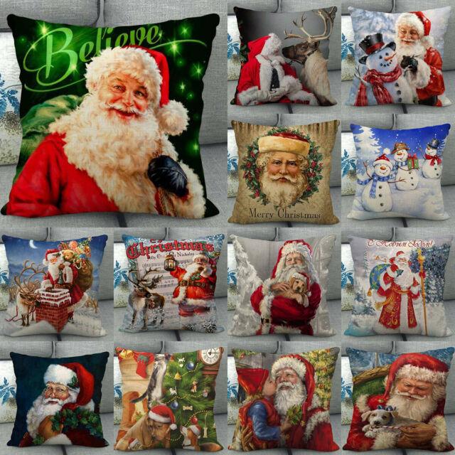 PRANCER Burlap Accent Pillows SET of 2 FILLED Pillow Holiday Christmas 7x13